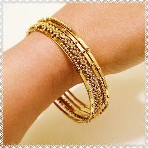 Set of 4 Beaded Gold Wired Tribal Bangle Bracelets